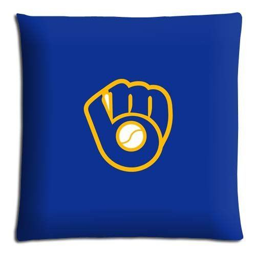 "bench pillow covers [ Polyester + Cotton ] Hidden zipper anti-microbial 16x24 16""x24"" 40x60cm Milwaukee Brewers MLB baseball logo"