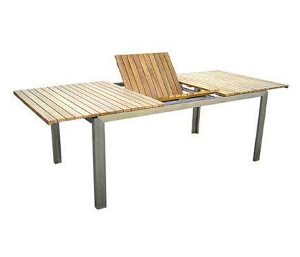 Mesa extensible de acero y madera de teca TECA INOX - Leroy ...