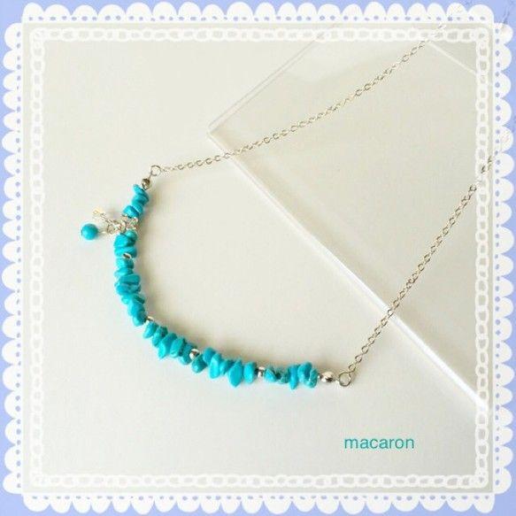 ◆青空を思わせるようなカラーのターコイズの小さなさざれ石を かわいいネックレスに仕上げました。◆シルバーカラーのパーツで明るさをプラスしました。 クリアーのス...|ハンドメイド、手作り、手仕事品の通販・販売・購入ならCreema。