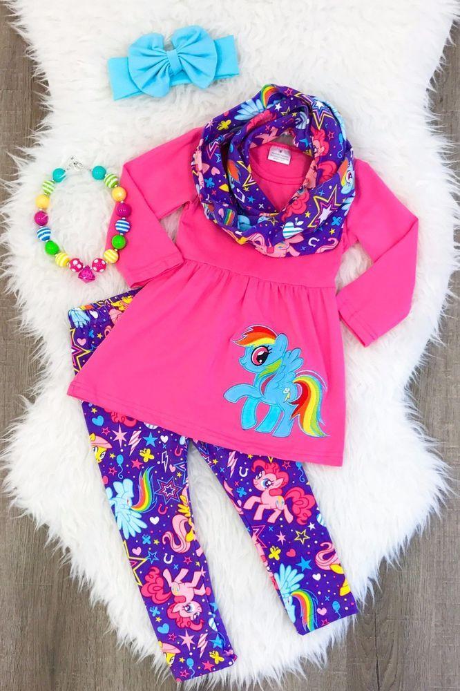 0b21ac4aa7464 My Little Pony Scarf Set Boutique outfit school fall autumn girls 3 4 5 6  #Unbranded #DressyEverydayHolidayschool