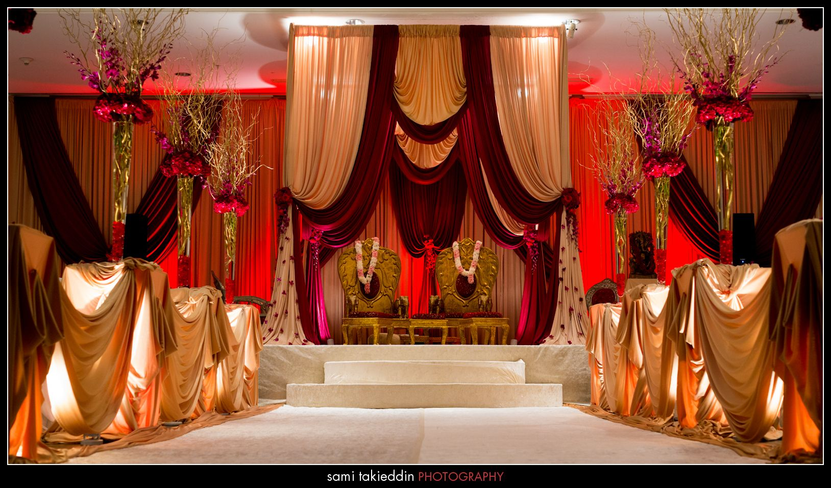 Indian Wedding Ceremony With Gold And Red Mandap Design Wedding