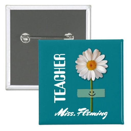 Smiling Daisy design Thank You, Teacher / Happy Teacher Appreciation Day / Happy Teacher Appreciation Week / Graduation Gift Keychains for Teachers with personalized name. Matching cards, postage stamps and other products available in the Business / Occupation Specific / Education, Childcare Category of the Mairin Studio store at zazzle.com