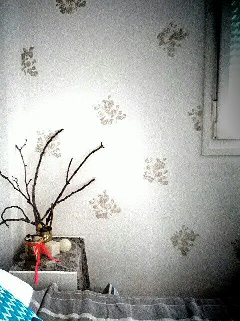 DIY stenciled leaves on my wall. It took forever but it was very much worth it, right?