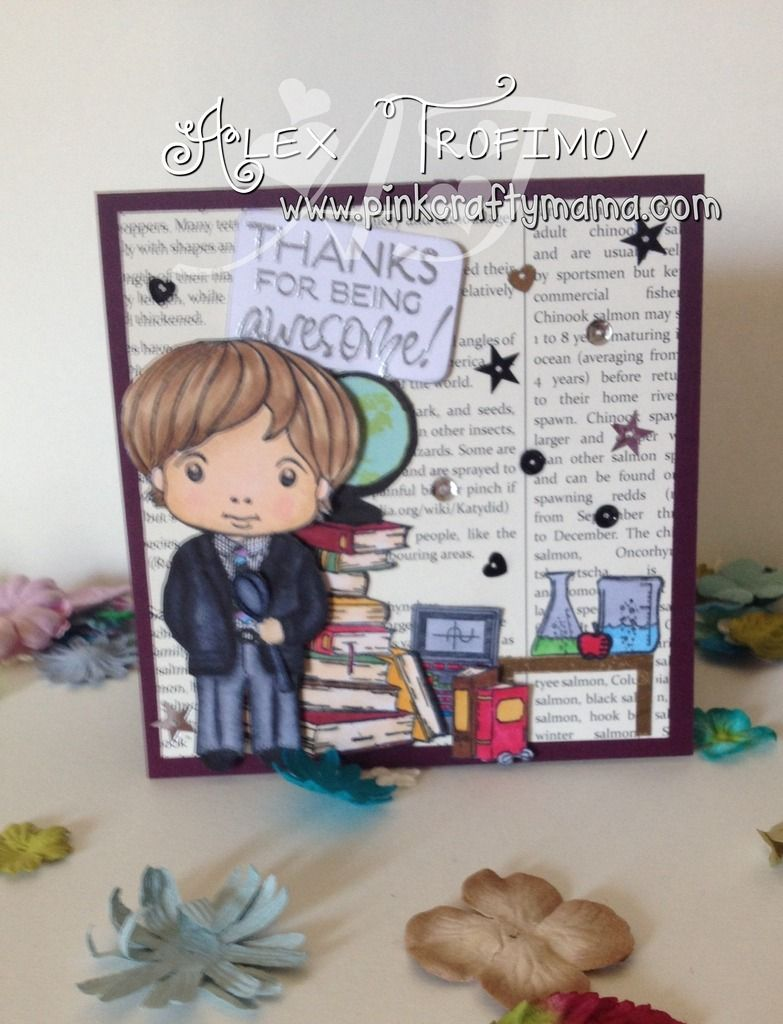 Awesome Teacher Thank You Card by #PinkCraftyMama  #verve, #tayloredexpressions, #stampinup  #LaLaLand  #school, #copicmarkers  #copics, #coloring  #fussycuttng, #spoonie
