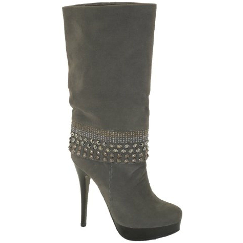 New Brieten Women's Studded Stiletto Heel Platform Middle Calf Boots