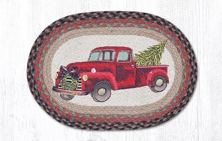 Vintage Red Truck Christmas Placemats.Christmas Tree And Red Truck Braided Mat Placemat