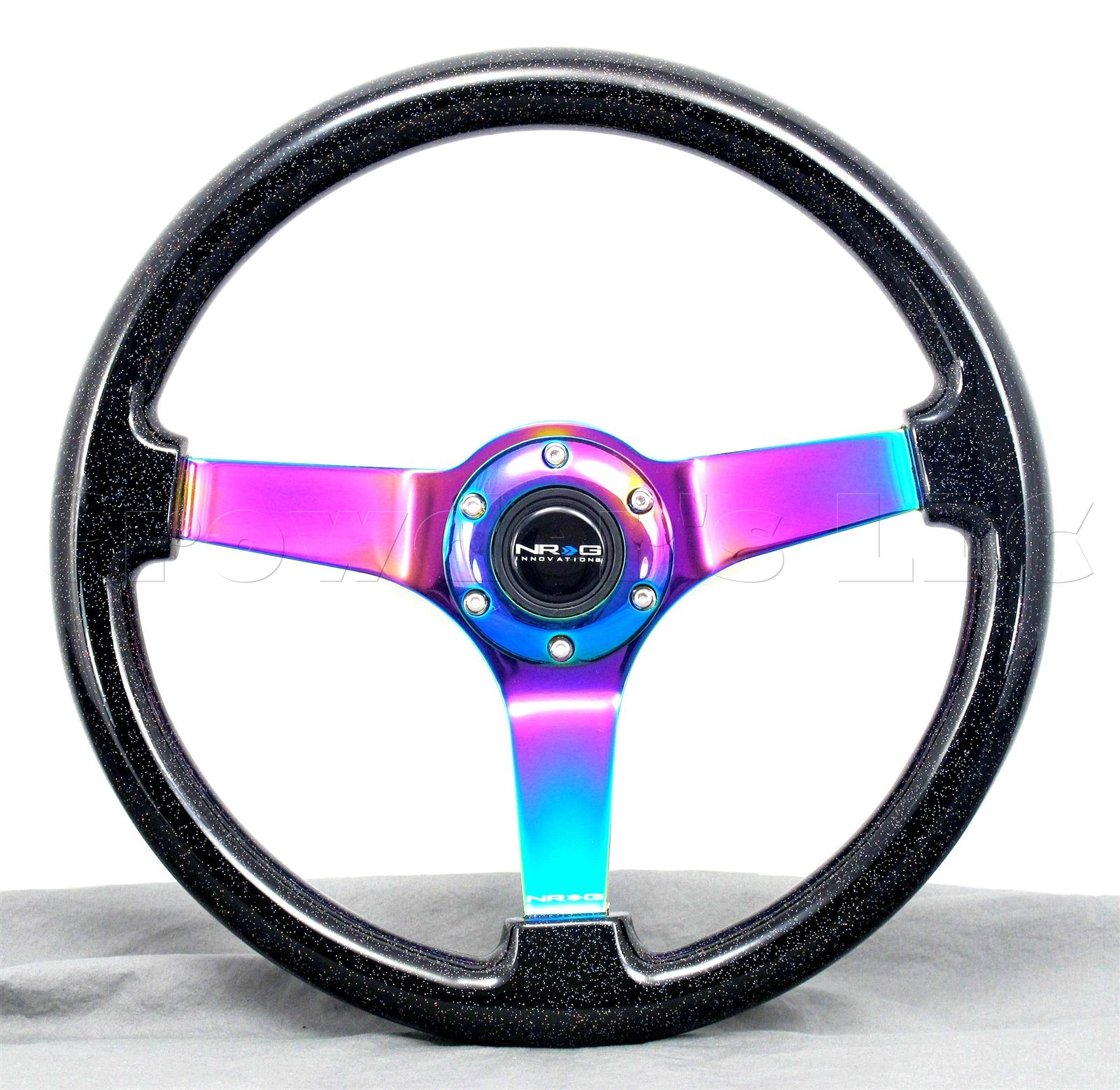 NRG 350mm Black Metal Flake Neochrome Spoke Wood Steering Wheel # ST ...