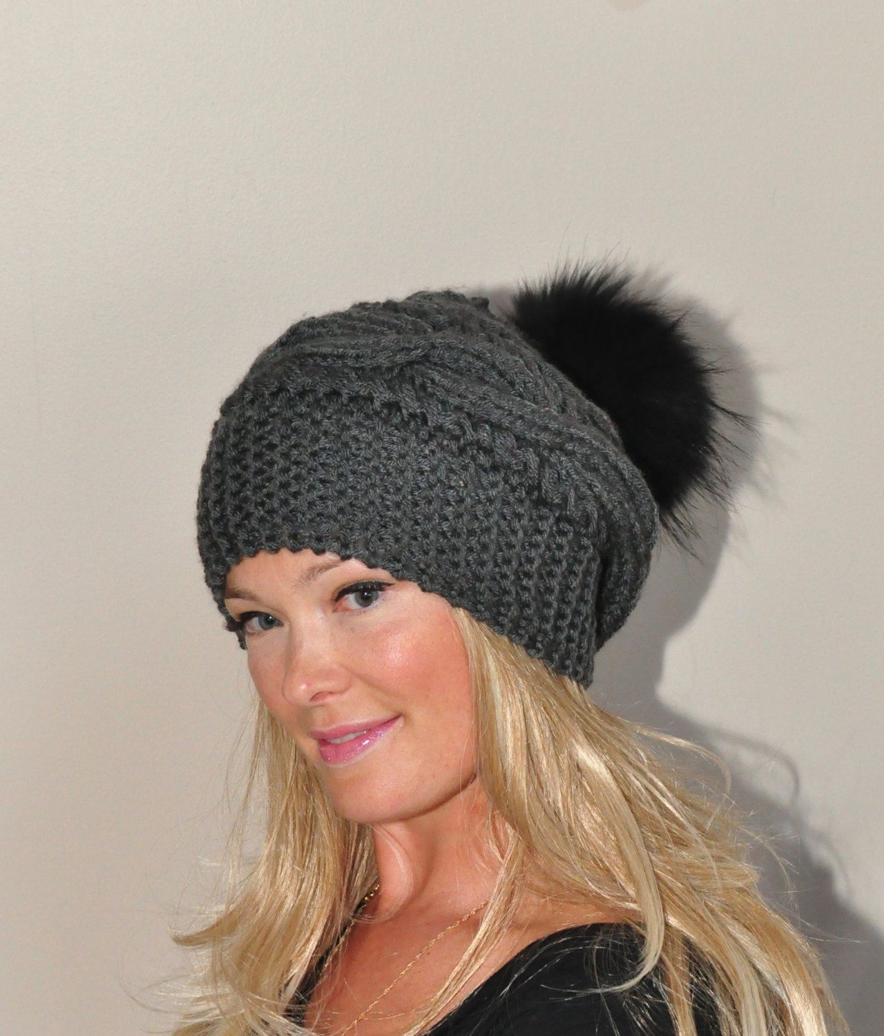 88255c1e0c4 Fur Pompom Hat Braid Knit Beanie Cable Hat Hand Knit Winter Women Hat  CHOOSE COLOR Dark Gray Chunky Christmas Gift by lucymir on Etsy