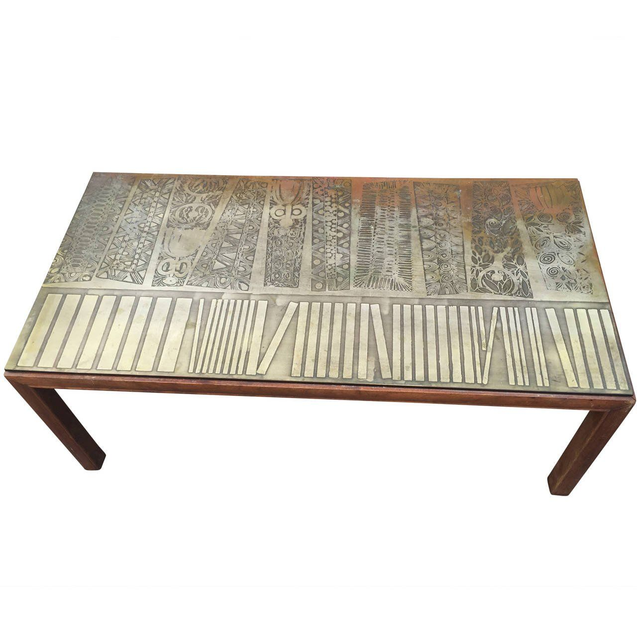 Italian Modernist Coffee Table With Etched Metal Top 1