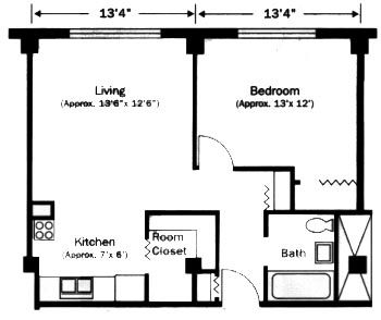 pictures of one bedroom floorplans under 450 square feet
