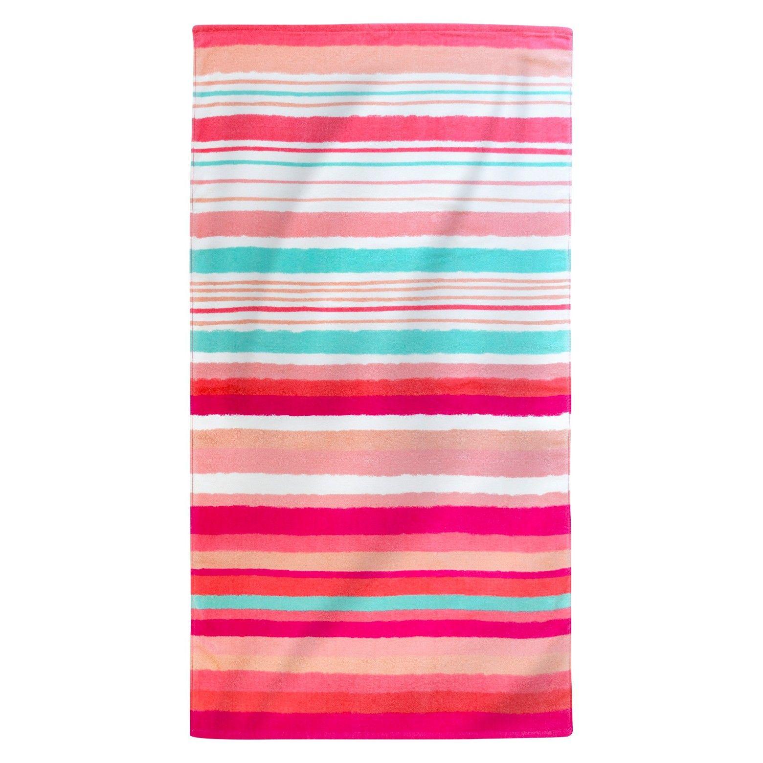 Evergreen Printed Hand Drawn Stripes Beach Towel Coral ...