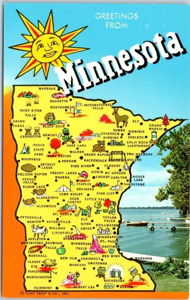 "Minnesota State Map / ""Big Letter"" Postcard w/ Lake Scene"