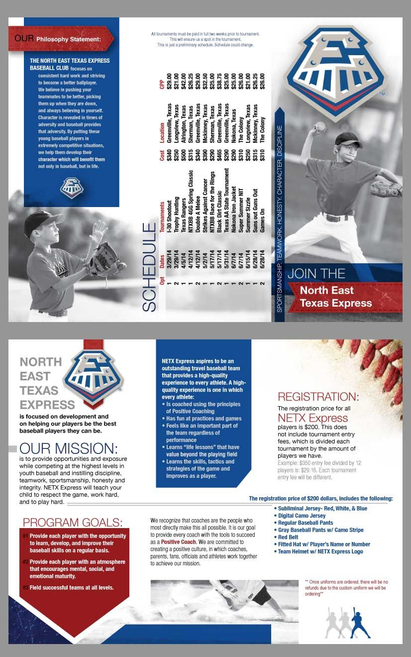Tri Fold Brochure I Made For Youth Baseball Team Go NETX! My