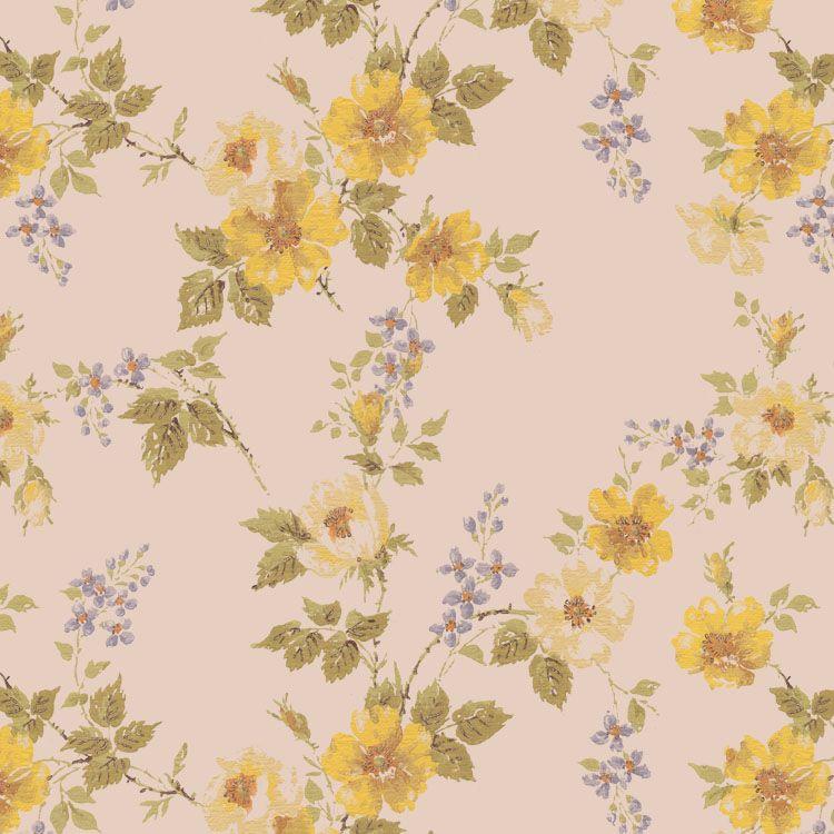 Floral Vintage Wallpaper Yellow Flowers   1950s Vintage