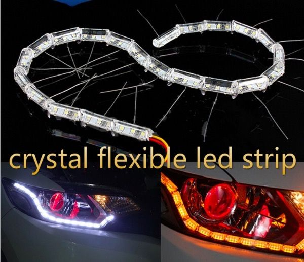 2x 9 LED Car Flexible White DRL Lamp Amber Sequential Flowing Turn Signal Light