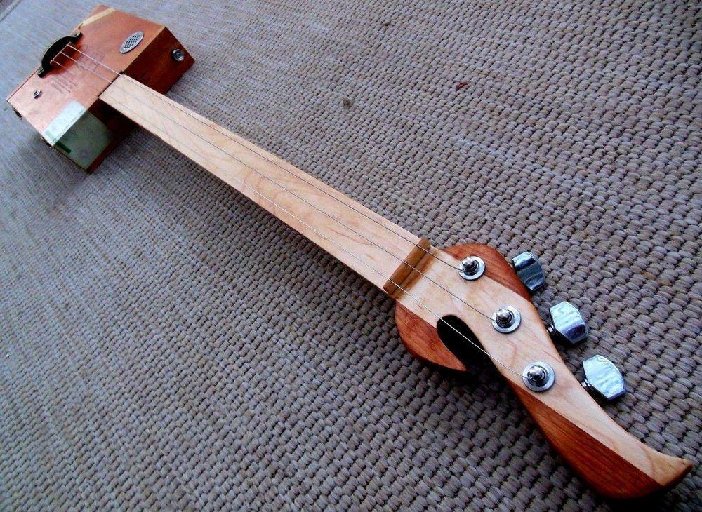 Grail Deluxe Series Fretless 3 string acoustic Electric cigar box guitar by Muddy BluesBox http://www.ebay.com/itm/-/182114132038?