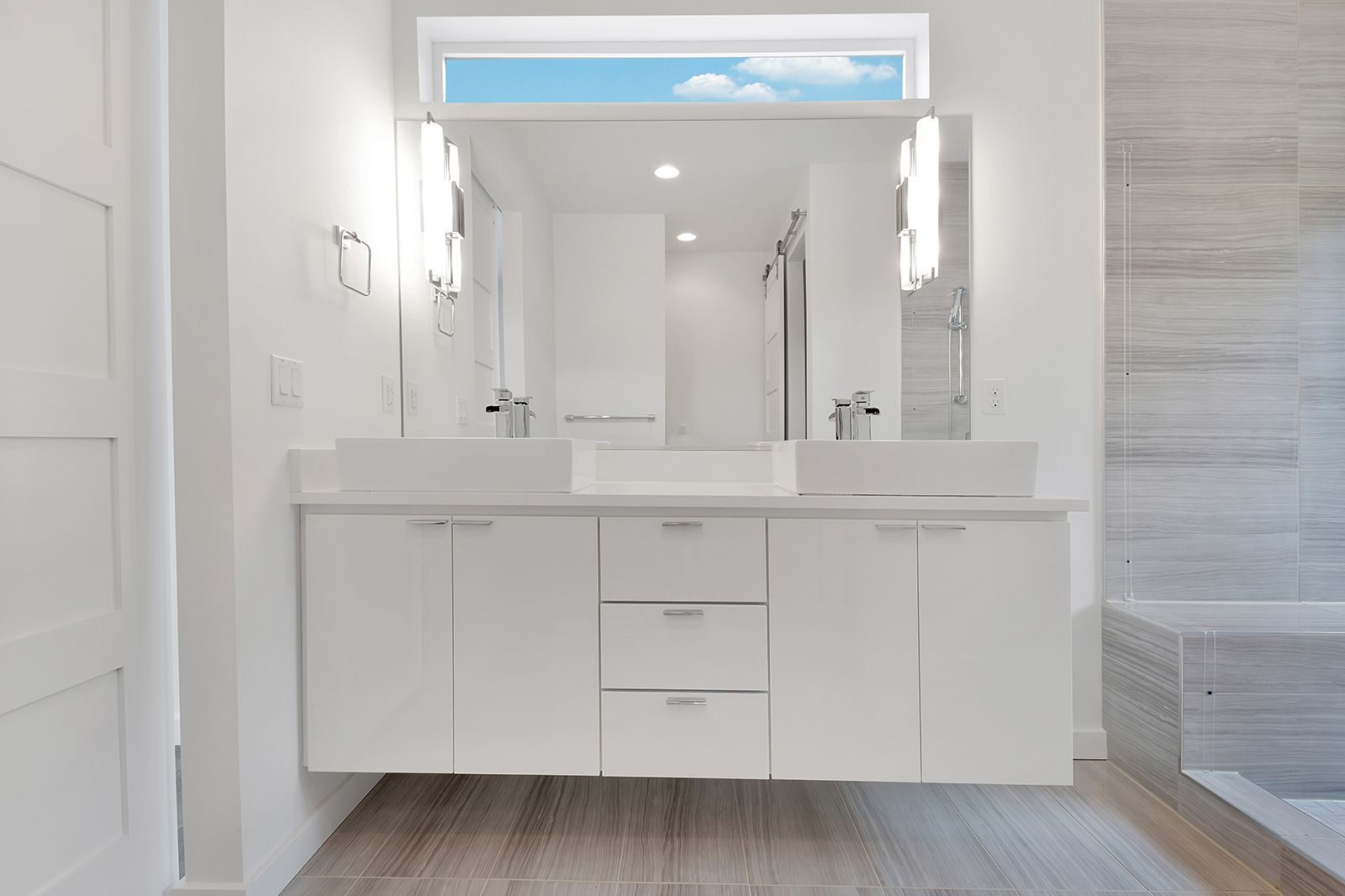 Free Floating White Laminate Vanity With Flat Panels And