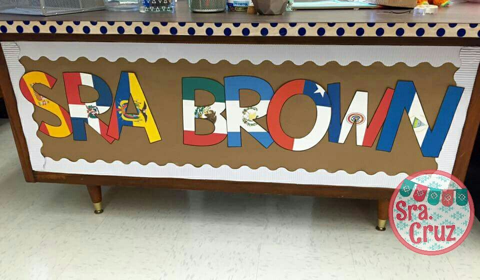 use these letters with the flags of spanish speaking countries to spell anything youd like around your spanish classroom