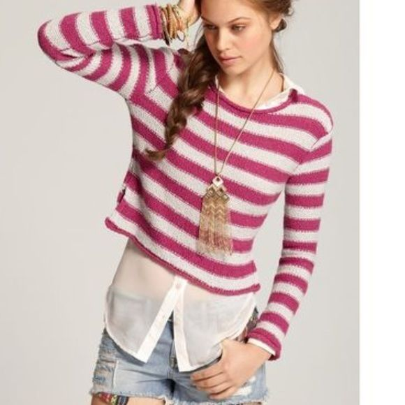 Free People Beach striped cropped cotton sweater Perfect condition ...