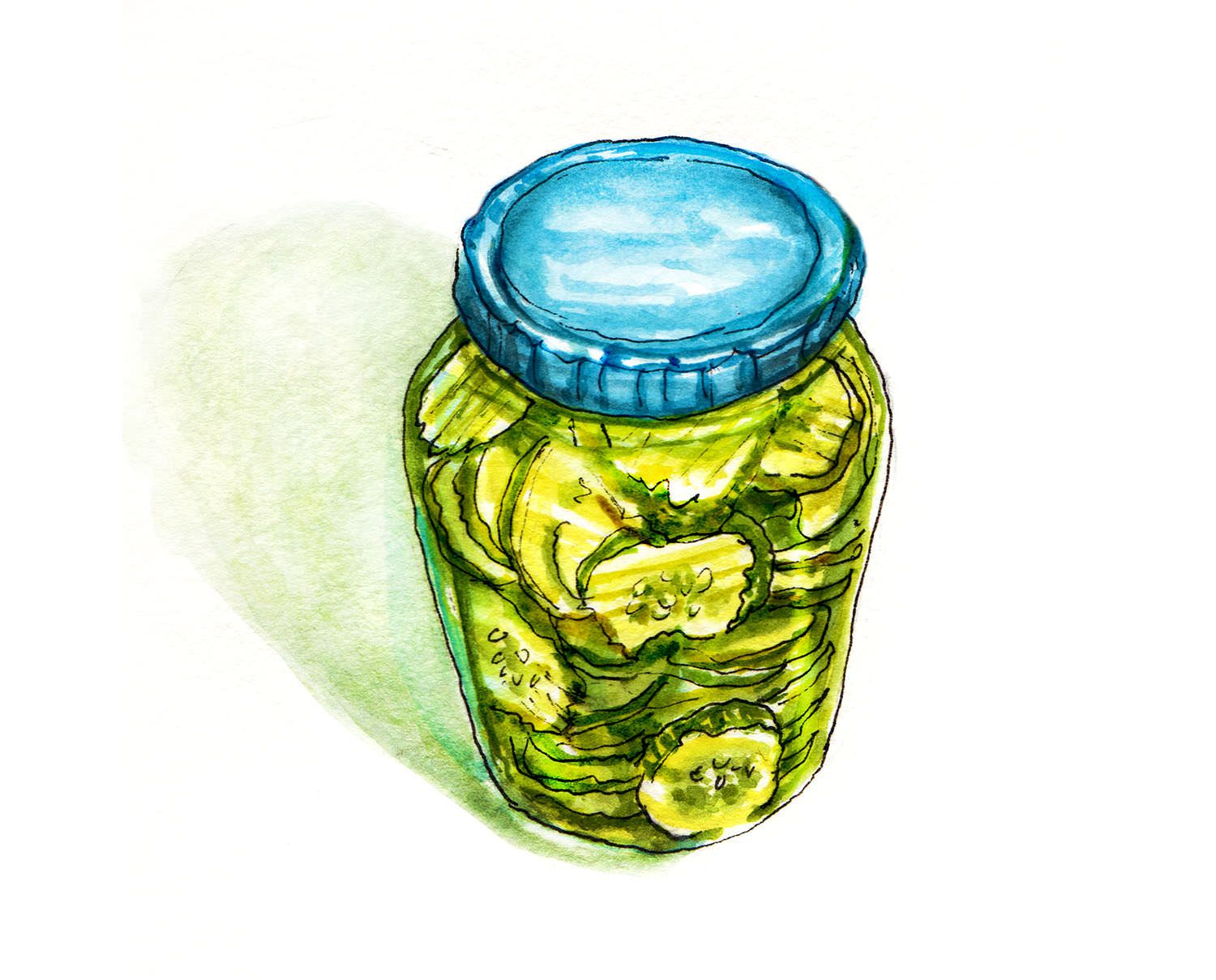 World Watercolor Month Day 16 A Big Jar Of Pickles Pickle