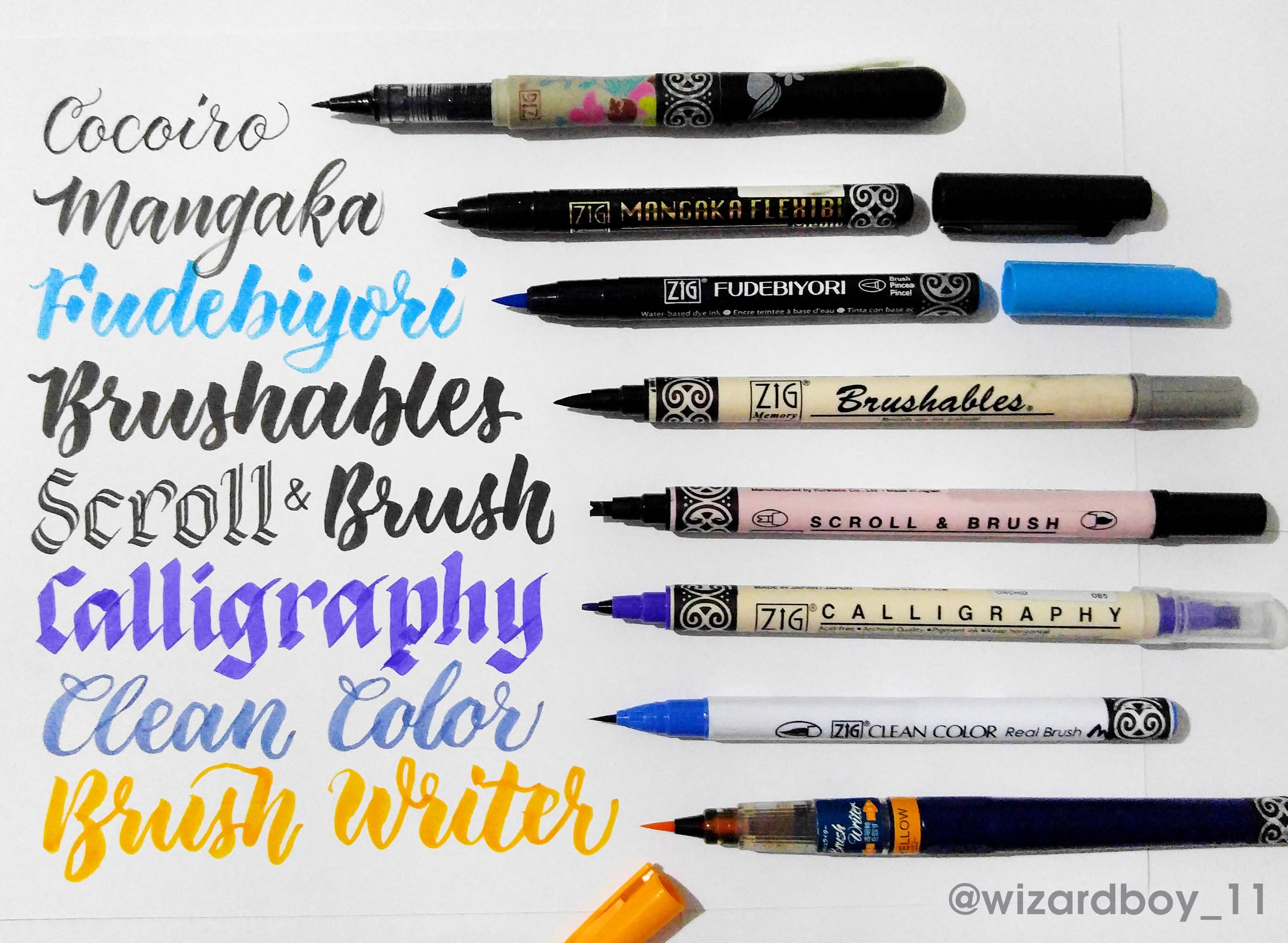 Zig Kuretake Pens Swatches Watercolor Galaxy Brush Calligraphy