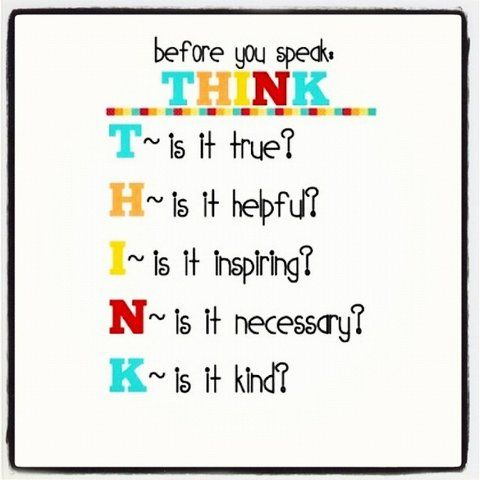 Before You Speak Think T Is It True H Helpful I