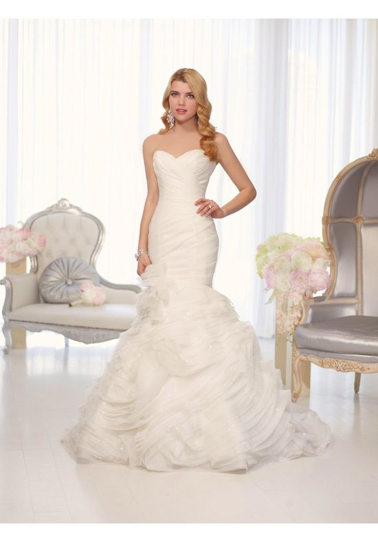 Sweetheart neckline and asymmetrical pleating on this trumpet wedding gown     D1509 from Essense of Australia 8eb1a243226f