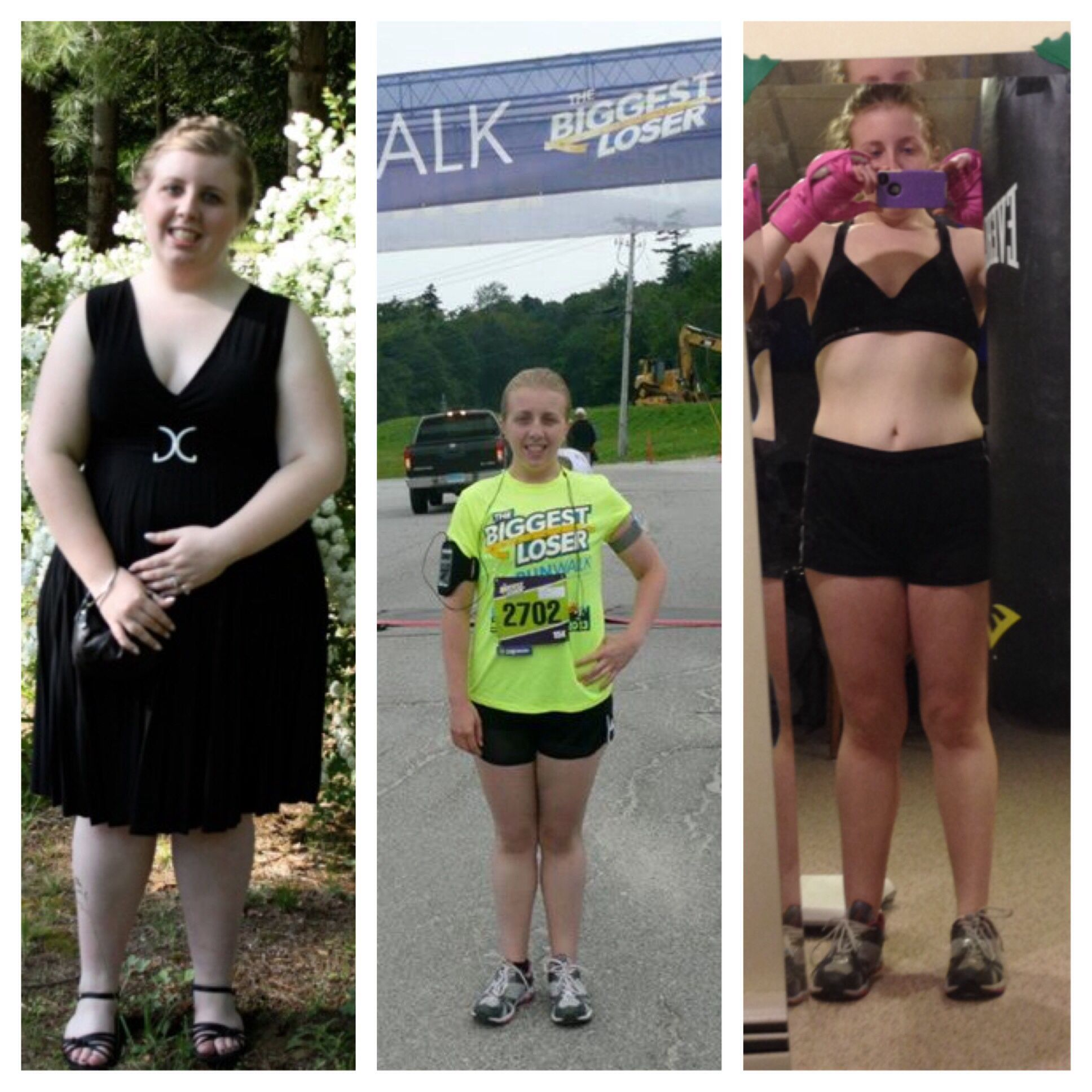 The first photo is from junior prom the second is me last year at the run/walk in Killington, VT and the third is me a few weeks ago