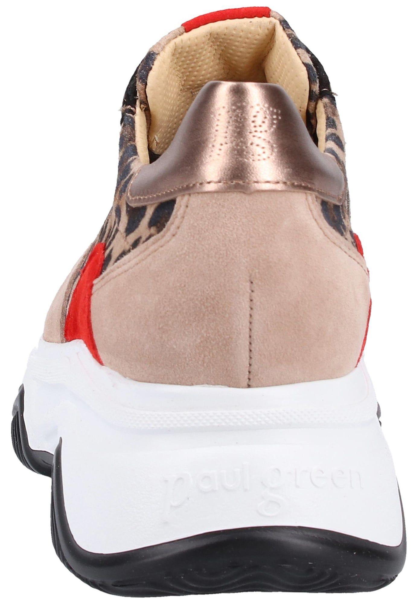 Paul Green Sneaker Damen, Beige Braun Hellrot Schwarz