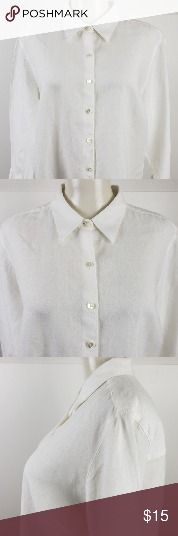 96112469cf904 LL Bean Top size Large White 3 4 Sleeve Linen LL Bean Top size Large White  Womens 3 4 Sleeve Shirt Button Down Linen Blouse Armpit to Armpit 23  Length 26 ...