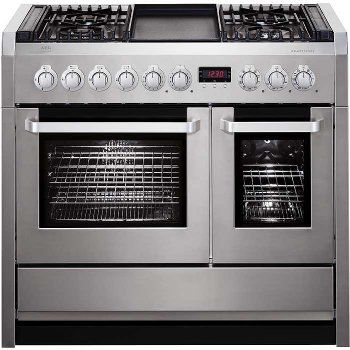 Aeg Competence C41022gm 100cm Dual Fuel Double Oven Range Cooker With Griddle Stainless Steel Electric Double Oven