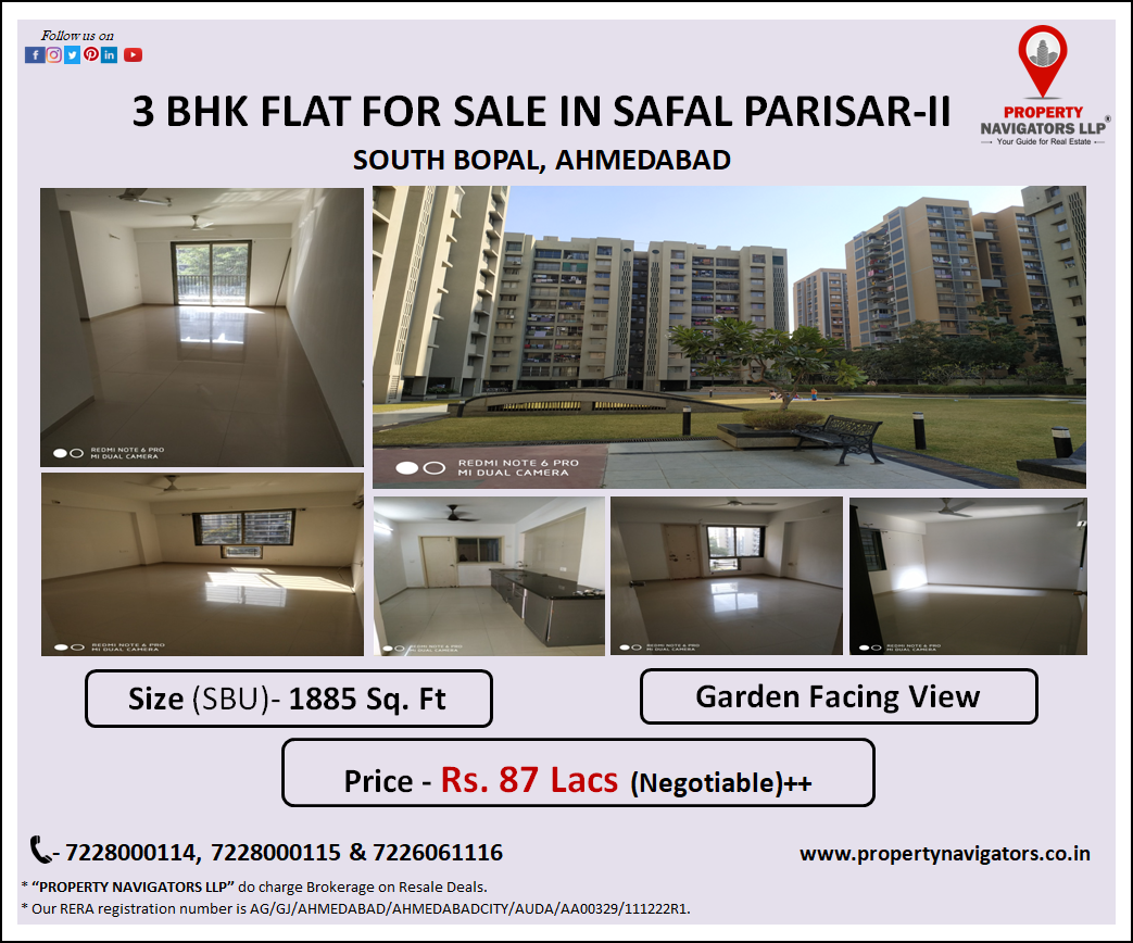 3 Bhk Highrise Apartment For Sale In Safal Parisar Ii South Bopal