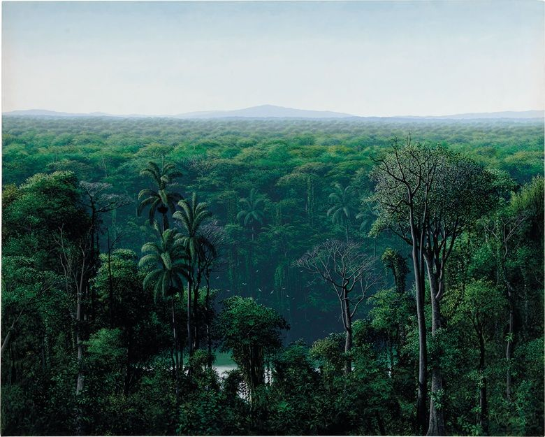 Tomás Sánchez (b. 1948), Aguas ocultas en la selva, 1990. Acrylic on canvas. 78 x 96 in (198.1 x 243.8 cm). Estimate $400,000-600,000. This work is offered in Latin American Art on 24-25 May at Christie's in New York