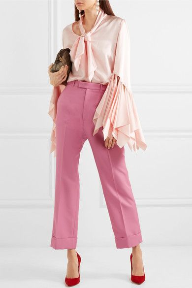 Twill Straight-leg Pants - Pink Gucci