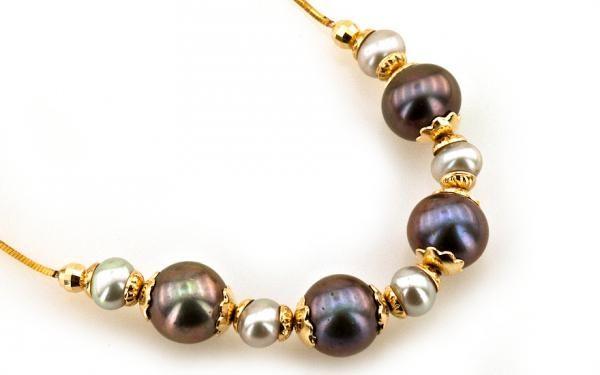 Exkluzívny zlatý perlový náhrdelník farebné perly 14 K žlté zlato
