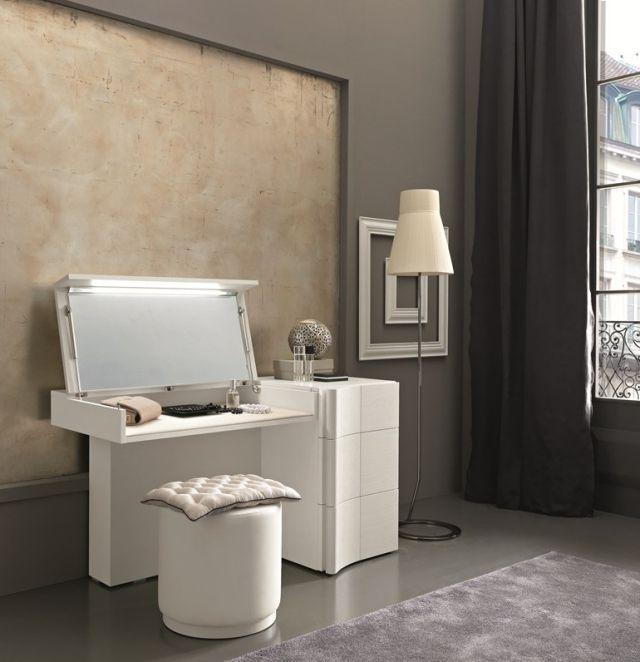 schminktisch weiss aufklappbarer spiegel beleuchtung sma mobili armonia night - Schminktisch Modern