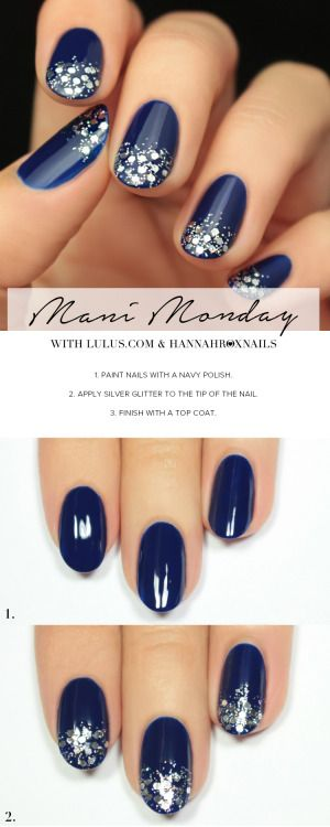 Navy Blue And Silver Glitter Nail Tutorial Nails Pinterest