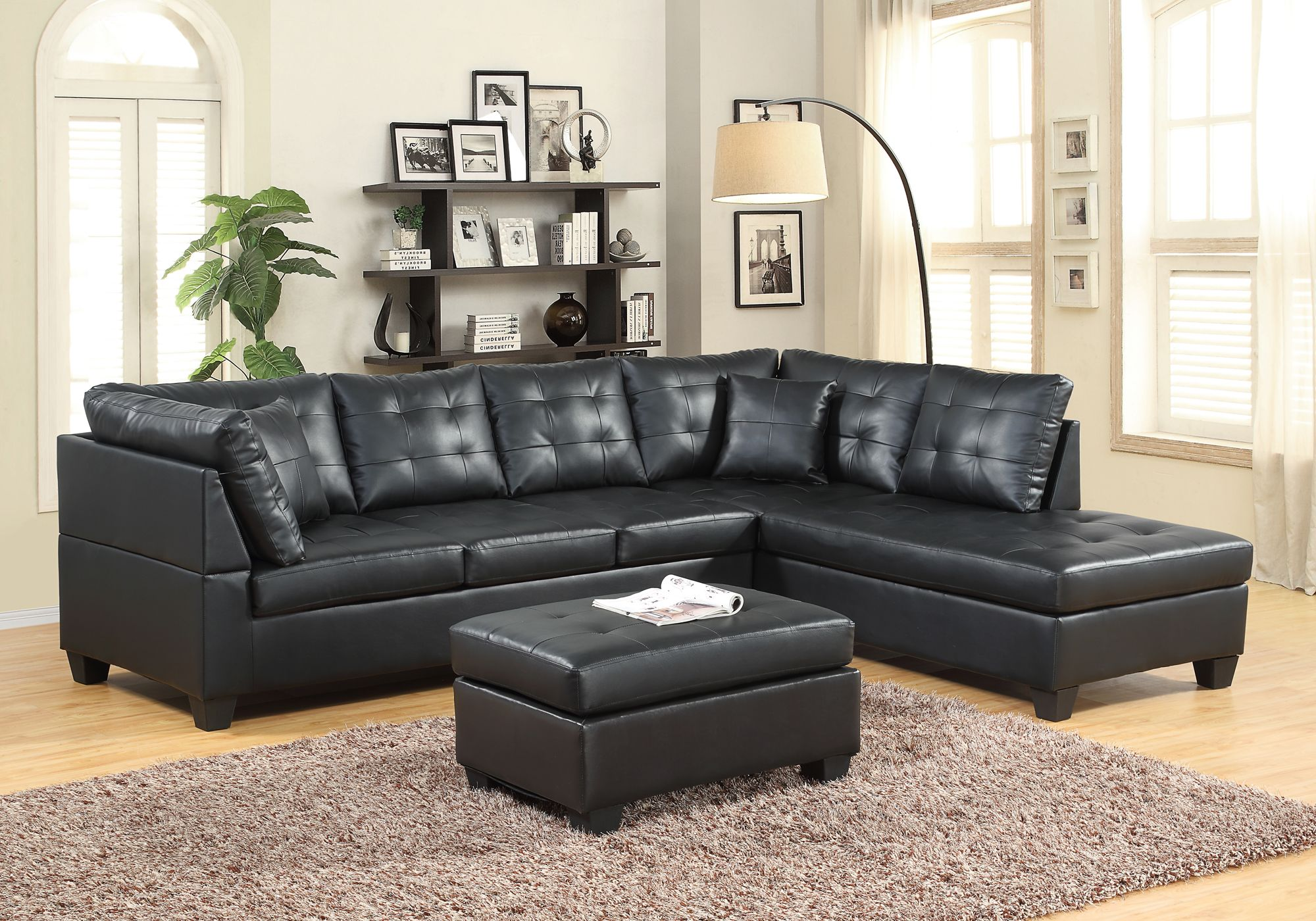 Pleasant 5020 Black Leather Like Sectional Discontinued Furniture Pdpeps Interior Chair Design Pdpepsorg