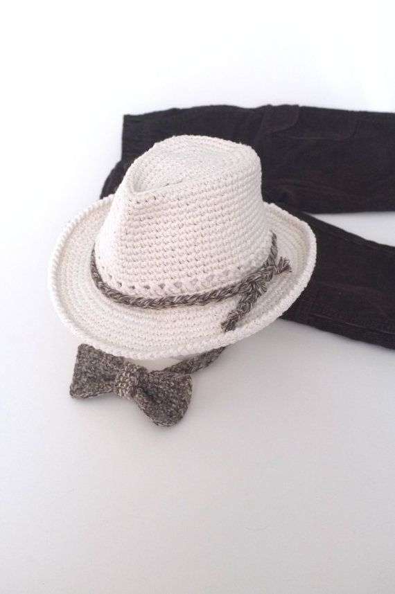 e0246665042 Baby Boy Fedora Hat and Bow Tie Set Crochet Cotton Newborn Photo ...