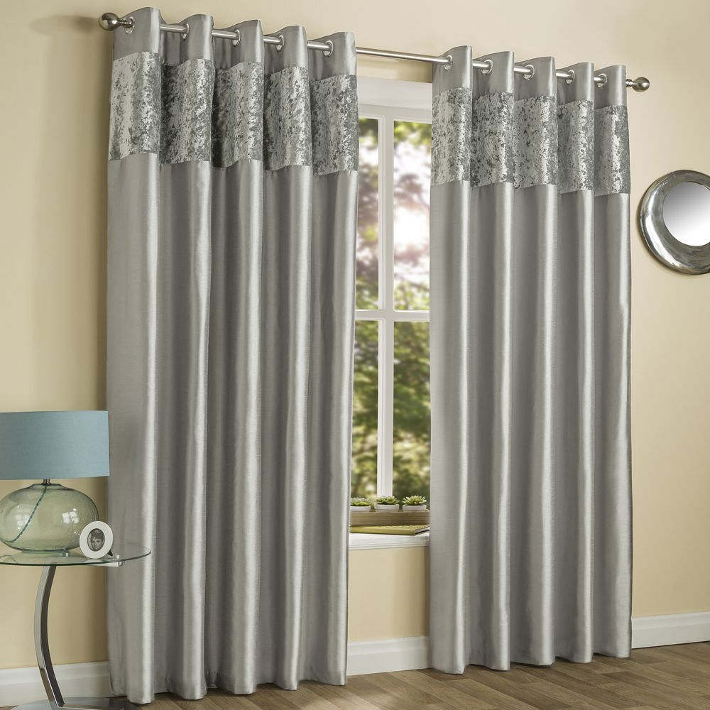 Amalfi Crushed Velvet Fully Lined Ring Top Curtains Silver