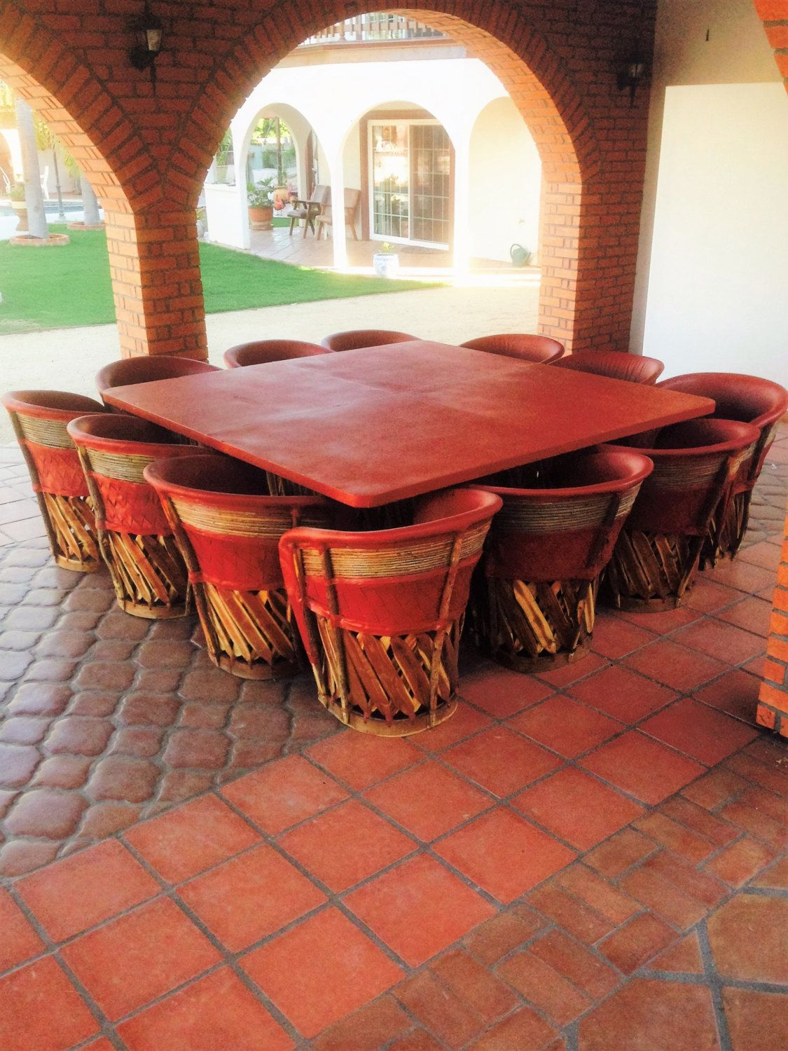 Dining Set With Large Table & 12 Chairs Equipales Rustic