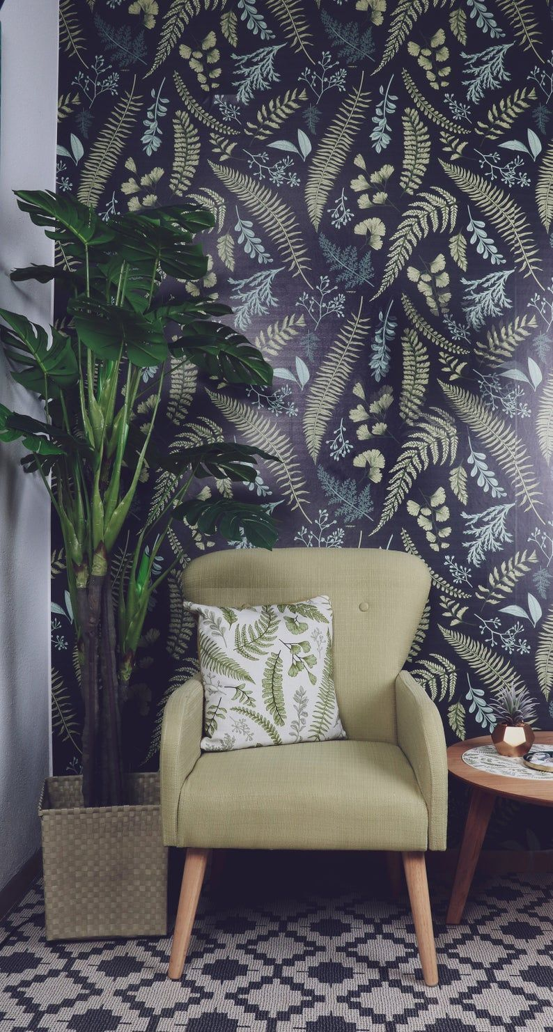 Sticker Wallpaper Easy Diy Apply Paper Free Peel And Stick Selfadhesive Textile Based Wallpaper Green Nordic Leaves In 2021 Easy Diy Wallpaper Diy