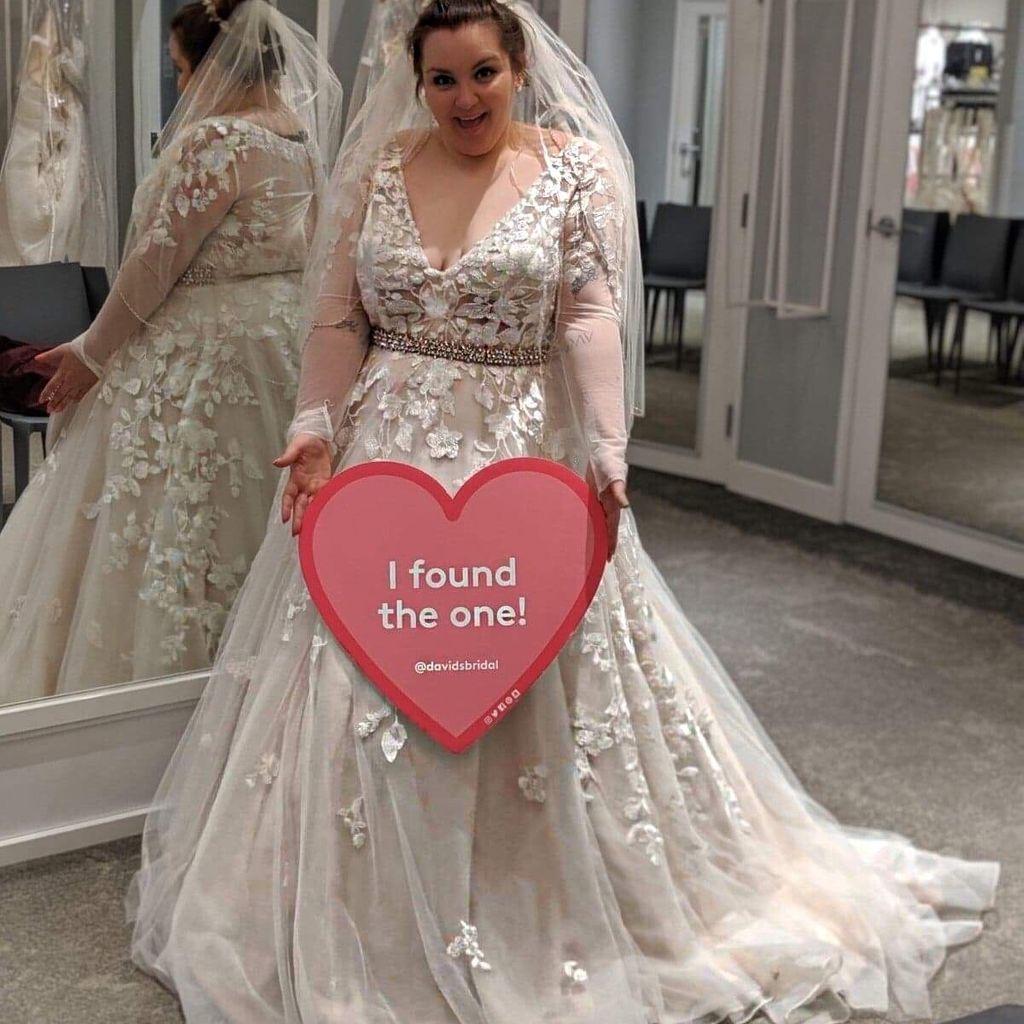 Illusion Sleeve Plunging Plus Size Wedding Dress David S Bridal Davids Bridal Wedding Dresses Wedding Dresses Full Figure Wedding Dress [ 1024 x 1024 Pixel ]