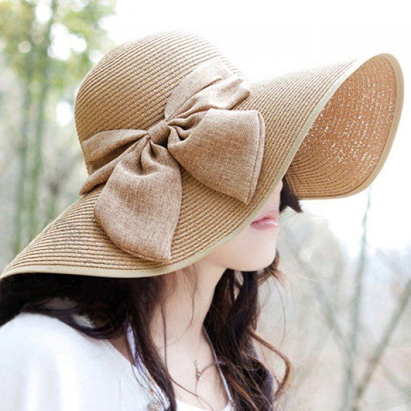 54a37ee9 $7.23 Chic Bowknot Embellished Wide Brim Stripy Straw Hat For Women