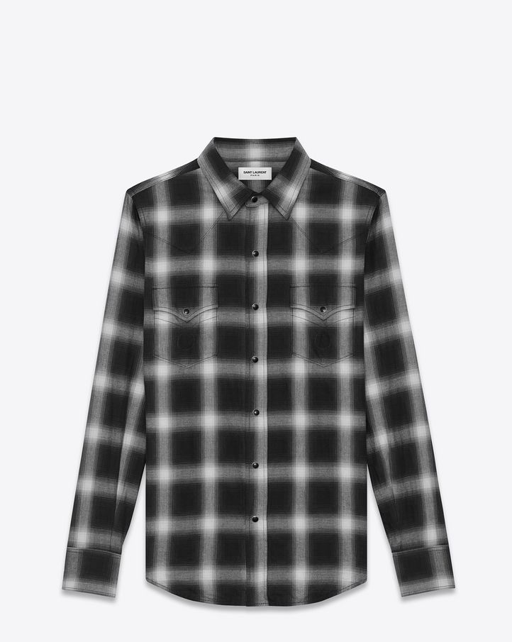 140889d9b3f2 CLASSIC WESTERN SHIRT IN BLACK AND WHITE PLAID COTTON   SLP ...