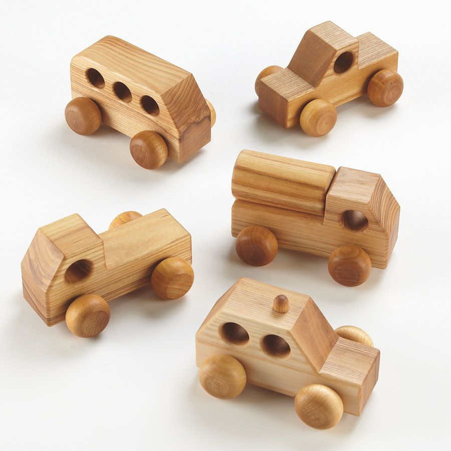 Small World Mini Wooden Vehicles 5pk Wooden Toy Cars