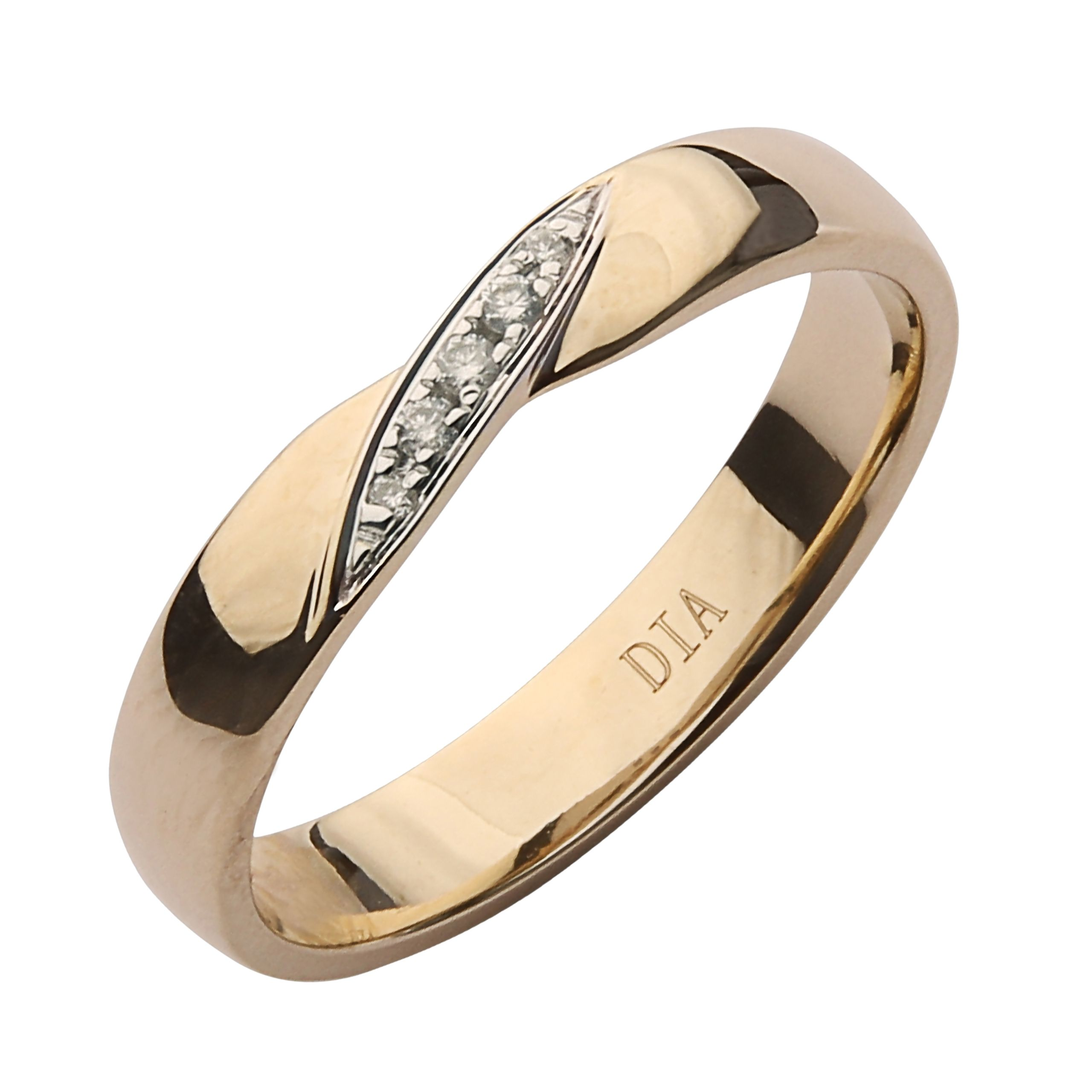 3.5mm 9ct Yellow Gold Crossover Diamond Ring Yellow Gold