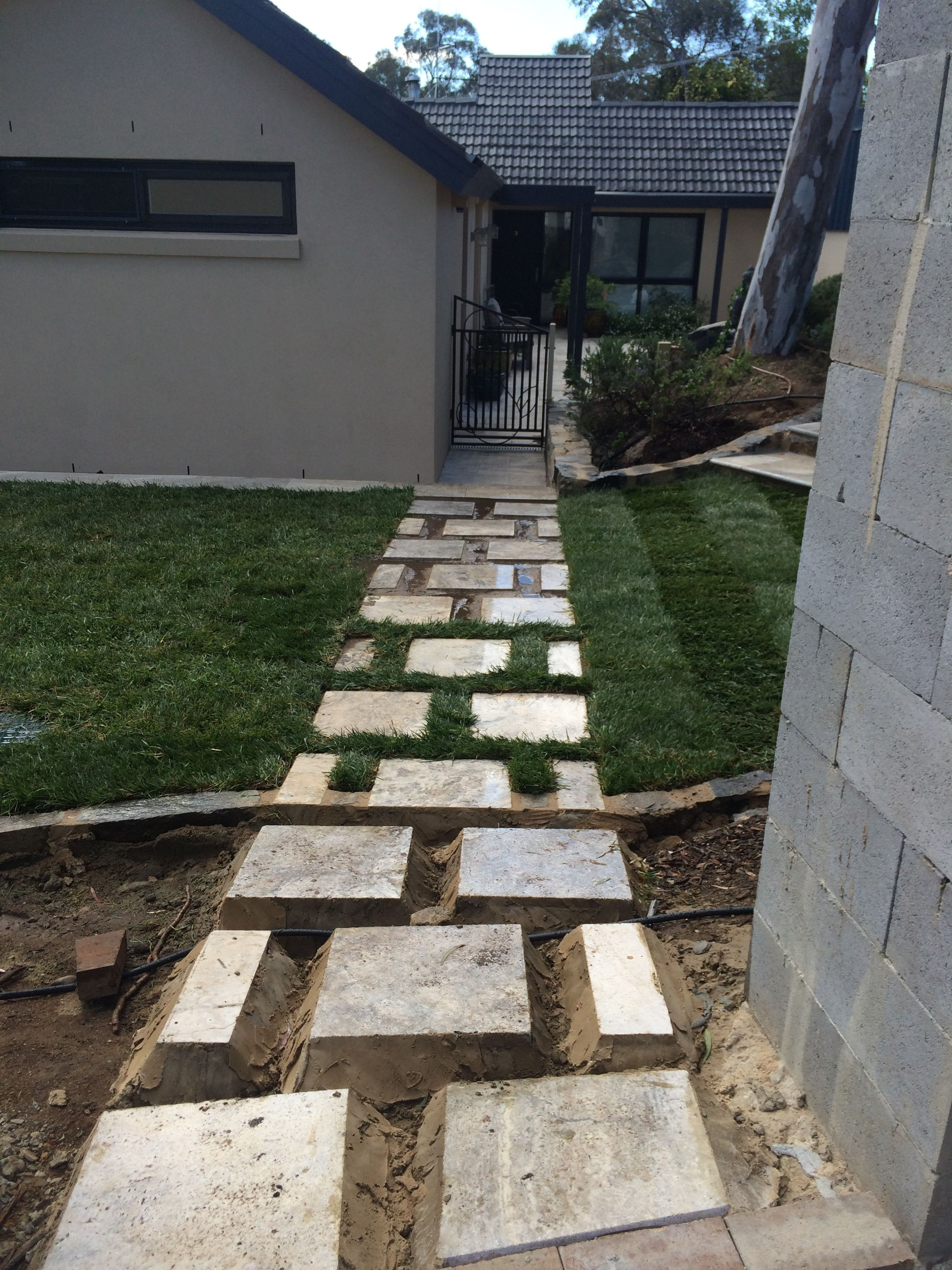 Front Yard Steps Stepping Stone Path Stone Letter Box Grass Canberra Blend Mulch Hedging