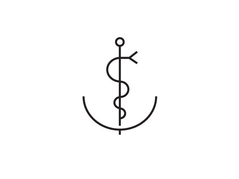 Simplified logo ( anchor & esculape ) for Piet Hein Clinic in Amsterdam. design: www.formlab.com