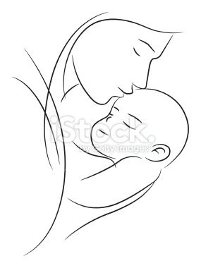 Mother holding her sleeping baby on white,vector ...
